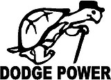 Dodge power, Turle walking with a cane, Vinyl cut decal