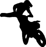 Dirt Bike and Rider fly through the air, Vinyl cut decal