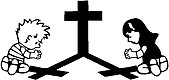 Calvin and Girl praying at the cross, Vinyl cut decal