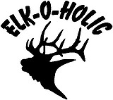 Elk-O-Holic, with elk head. Vinyl cut decal