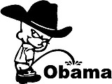 Cowboy Calvin peeing on the Obama, Vinyl decal sticker