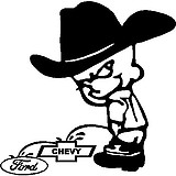 Cowboy Calvin peeing on the Chevy and Ford, Vinyl decal sticker