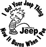 I got your Jeep thing, Now it burns when I pee, Vinyl cut decal