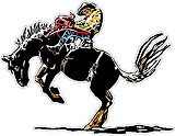 Bucking Horse with rider, Full color decal