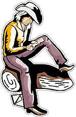 Cowgirl reading a letter, Full color decal