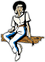Cowgirl sitting on a bench decal