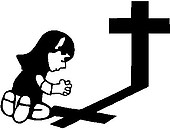 Girl Calvin praying at the cross, Vinyl decal sticker