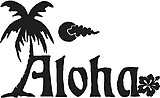 Aloha, Palm tree, Hibiscus flower, Vinyl cut decal