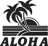Aloha, with a palm tree and sun set, Vinyl cut decal