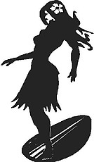 Hawaiian girl surfing, Vinyl cut decal
