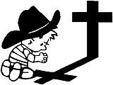 Cowboy calvin praying at the cross, Vinyl decal sticker