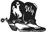 Cowboy boots, Wy, Bucking horse, Vinyl decal sticker