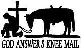 God answers knee mail, cowboy and his horse praying at a cross, Vinyl cut decal