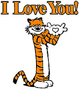 I Love You,. Hobbs making a heart with his hands, the cat, Full color decal