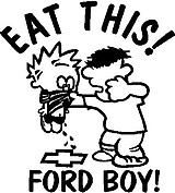 Eat This Ford Boy, Calvin getting hit for peeing on a Chevy bow tie, Vinyl cut decal