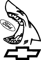 Chevy, Shark eating a Ford Logo, Vinyl cut decal