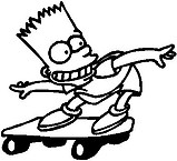 Bart Simpson on a skate board, Vinyl decal sticker
