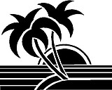 Palm Trees, Sun set, sand and beach, Vinyl cut decal
