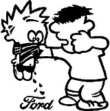 Calvin getting beat up for peeing on Ford, Vinyl cut decal