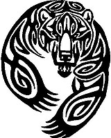 Tribal Bear, Vinyl cut decal