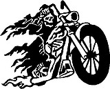 Biker Skull Guy, Riding a Motorcycle, Vinyl cut decal