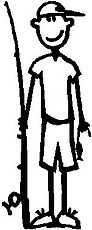 Boy, 5.2 inch Tall, Fishing, Stick people, vinyl decal sticker
