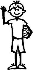 Boy, 5.3 inch Tall, Basketball, Stick people, vinyl decal sticker