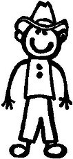 Cowboy, 5.4 inch Tall,  Stick people, vinyl decal sticker