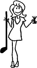 Girl, 5.3 inch Tall, with a Golf Club and a Martini, stick people, vinyl decal sticker