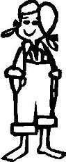 Girl, Hillbilly, 5 inch Tall,  Stick people, vinyl decal sticker