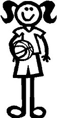 Girl, 5.2 inch Tall, Basketball, Stick people, vinyl decal sticker