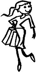 Girl Shopping, 5.1 inch Tall,  Stick people, vinyl decal sticker