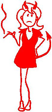 Girl, 5.2 inch Tall, Devil Woman, Stick people, vinyl decal sticker