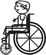 Wheel Chair, Boy, stick people, vinyl decal sticker