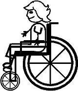 Wheel Chair, Girl, stick people, vinyl decal sticker