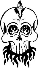 Skull with flames, Vinyl cut decal