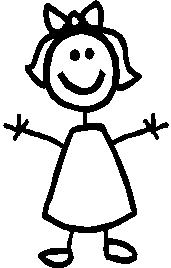 Little Girl, 3.7 inch Tall, stick people, vinyl decal sticker