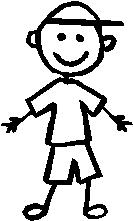 Little Boy, 3 inch Tall, stick people, vinyl decal sticker