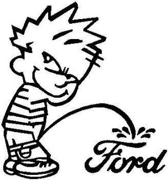 Calvin peeing on Ford, Vinyl decal sticker