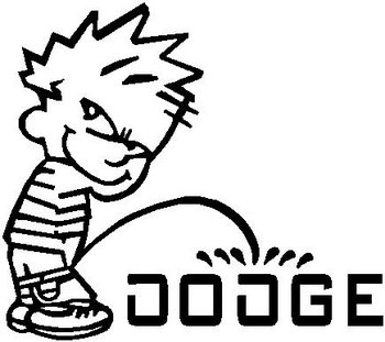 Calvin peeing on the Dodge logo, Vinyl decal sticker