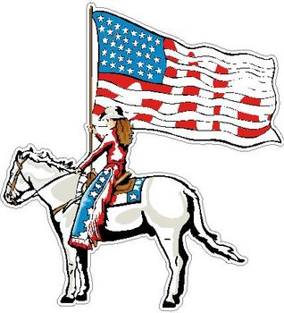 Cowgirl holding an American Flag while riding a horse, Full color Decal