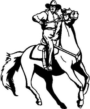 Cowgirl riding a horse, Vinyl cut decal