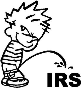 Calvin peeing on the IRS, Vinyl decal sticker