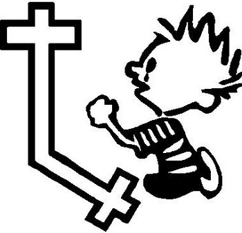 Calvin Praying at a Cross, Vinyl cut decal