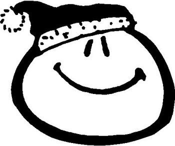 Smiley Face with a Santa Hat on, Vinyl cut decal