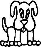 Dog, 2.1 inch Tall, stick people, vinyl decal sticker